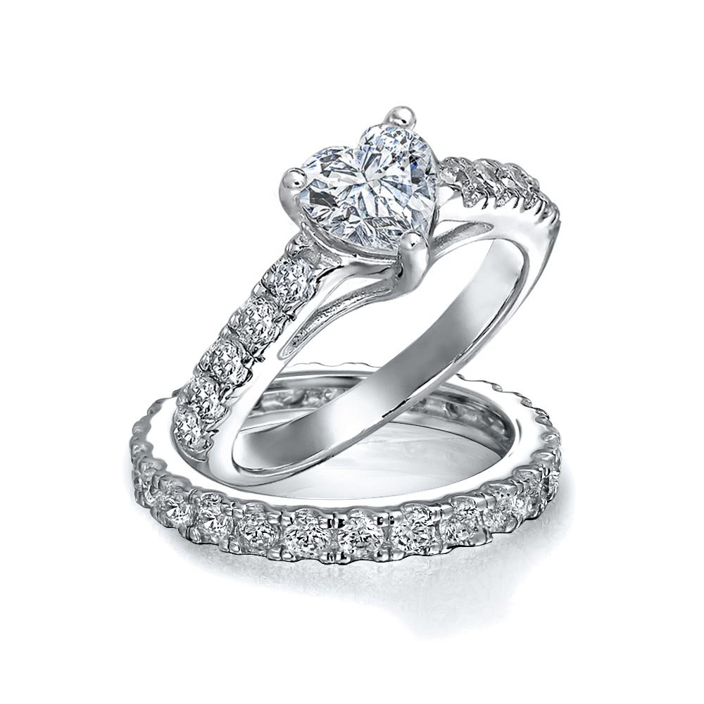 Bling Jewelry 925 Silver CZ Pave Heart Engagement Wedding Ring Bridal Set SM-RS992