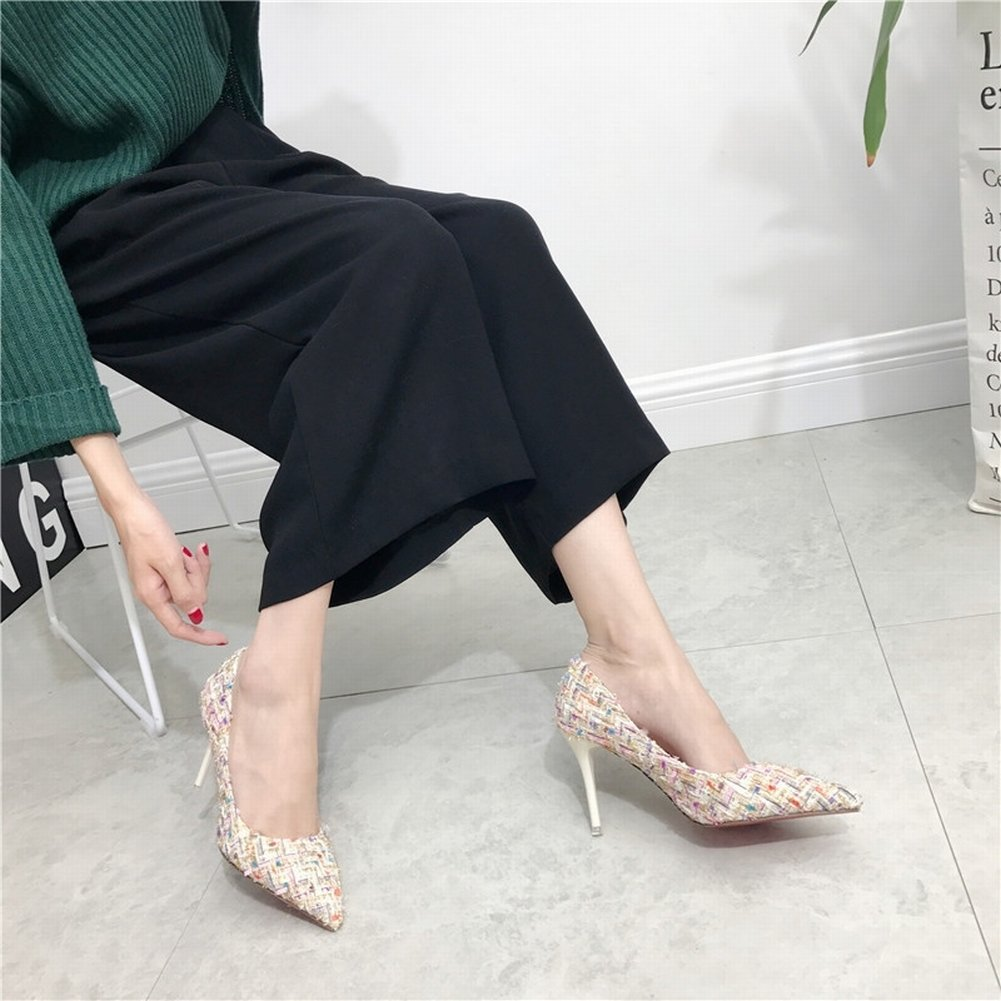 Fashion Hit Color Wool Hair Tips Fine with High Shoes Shoes   white   EUR35  B0779RJ5B8