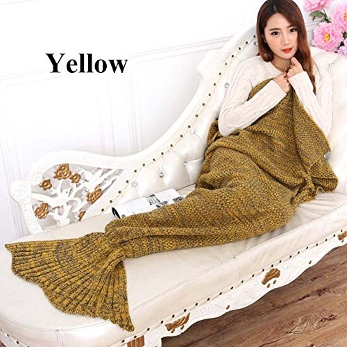 Yellow-Bedding Sofa Mermaid Blanket Wool Knitting Fish Style Little Tail Blankets Warm Sleeping Child Princess Loves Gift