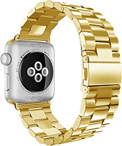 iiteeology Compatible with Apple Watch Band 42mm 44mm, Stainless Steel iWatch Band Replacement Strap for iWatch SE & Series 6 5 4 3 2 1 - Yellow Gold