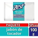 Zest, Jabón de Tocador, Cuidado Neutro, 100 gr, Paquete de 5 Piezas
