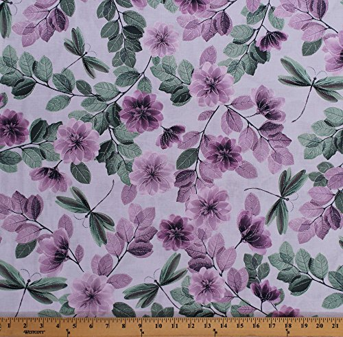 - Cotton Flowers Floral Dragonflies Dragonfly Insects Bugs Essence of Pearl Sheer Leaves Lilac Spring Garden Cotton Fabric Print by The Yard (8726P-06)
