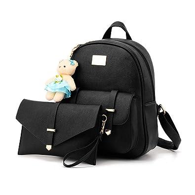 9abb30c0e61c2 Hynbase Set of 2 Women Cute Korean Leather School Backpacks Shoulder Bags  Black