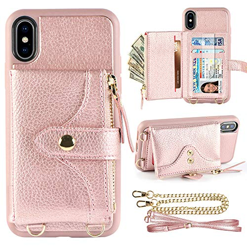 LAMEEKU Wallet Case for iPhone Xs and iPhone X 5.8 inches, Credit Card Holder Leather Wallet Case with Crossbody Strap Wrist Strap Zipper Leather Case Compatible with iPhone Xs/iPhone X - Rose Gold