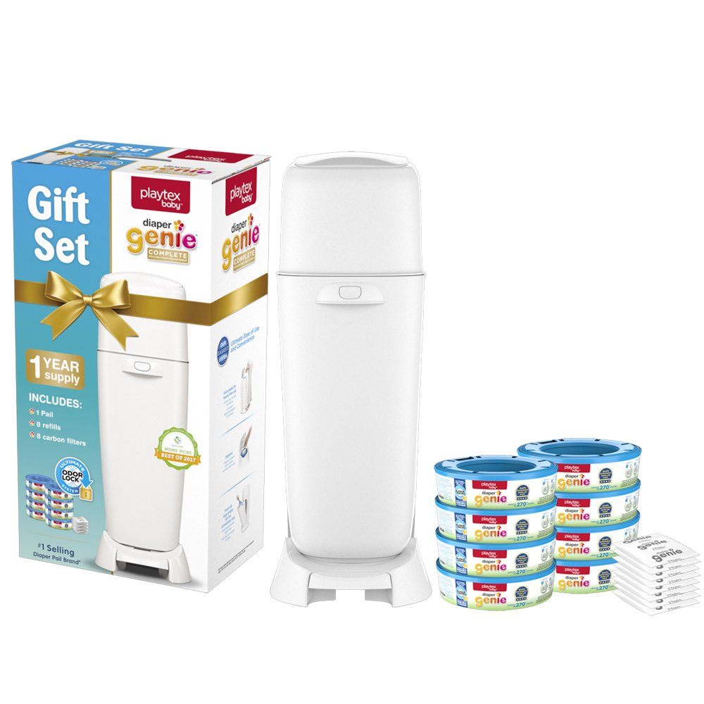 Playtex Diaper Genie Baby Registry Gift Set with 1 Diaper Genie Complete Diaper Pail, 8 Diaper Genie Refills and 8 Diaper Genie Carbon Filters for Odor Control
