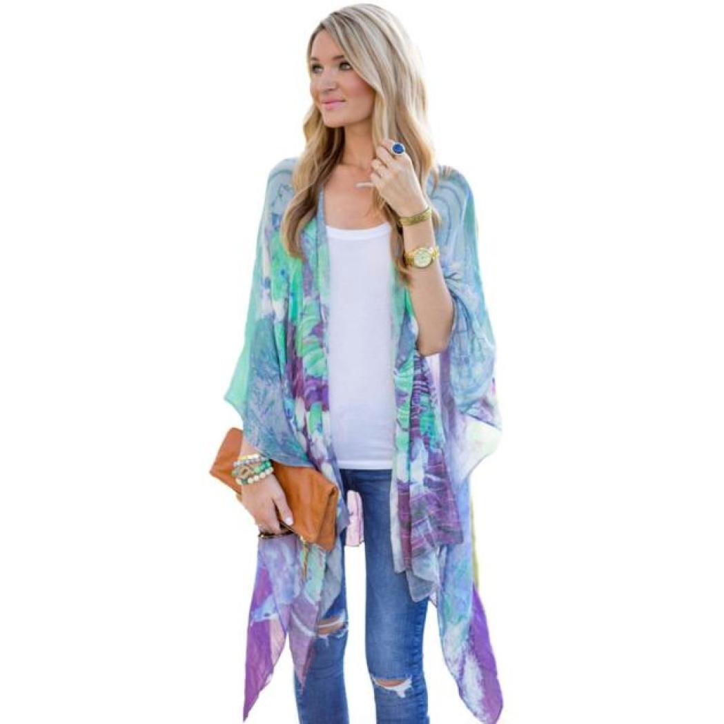 Quistal Women's Floral Print Cardigan Chiffon Loose Swing Kimono Capes 3/4 Sleeve Irregular Cover up Tops