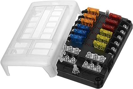 ATO//ATC 5A 10A 15A 20A 6-way Fuse Box Blade Fuse Holder LED Indicator for Car