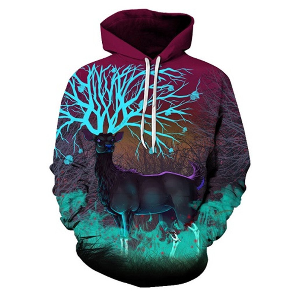 Giafall Deer Printed 3D Hoodies Sweatshirts Men Pullover Tracksuits 6XL Coat