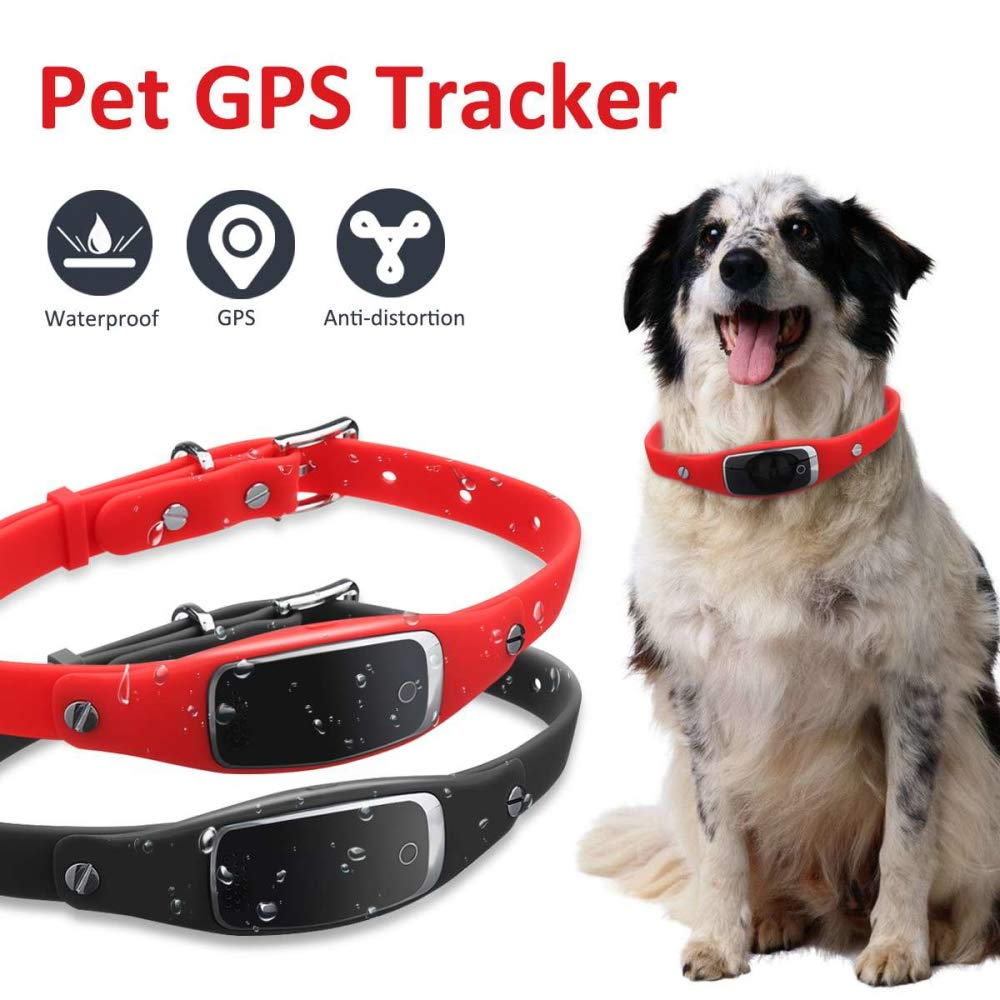 HUAXING Mini Pet Tracer,Dog Cat Collar 1000 Mah Electricity Standby for 180 Hours Lightweight And Waterproof for Dogs Cats Pets,Red