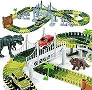 AUUGUU Kids Dinosaur Race Car Track with Flexible Track, Dino Toys, Bridge, Ramps and 2 Race Car Toys – Prehis