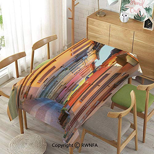 Tablecloth for Dining Room for Rectangle Tables,Narrow Paves Street Among Old Houses in Town Serralunga DAlba Piedmont Decorative,Indoor Outdoor Camping Picnic,Pale Orange Brown Pink,52