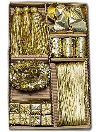 Weihnachtsdeko Gold.Sia 88081 Weihnachtsdeko Set Schleifen Und Bänder Baumschmuck Gold
