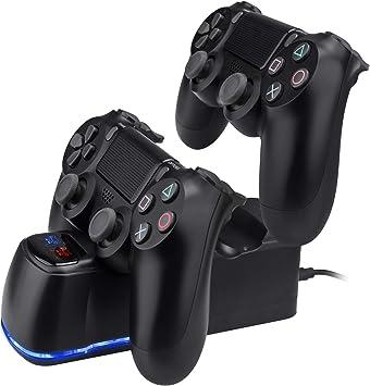 TechKen PS4 - Estación de Carga Dual para mandos Playstation 4 ...