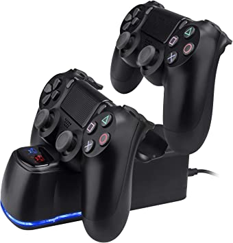 TechKen PS4 - Estación de Carga Dual para mandos Playstation 4, Dualshock 4 USB Cargador de Pared: Amazon.es: Electrónica