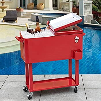 Amazon Com Outsunny 80 Qt Rolling Ice Chest Portable