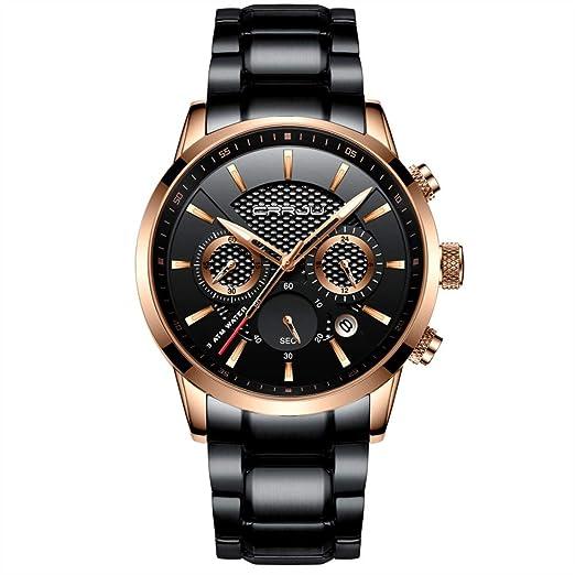 3ce91e1d7f70 CRRJU - Reloj de Pulsera analógico de Cuarzo para Hombre