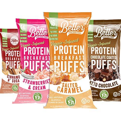 New BETTER THAN GOOD Keto Protein Puffs   16g Protein, 2 Servings of Fruits & Veggies   Paleo, Low Sugar, Low Calories, Gluten Free, Diabetic Friendly Keto Snacks (Sweet Sampler 4 pack)