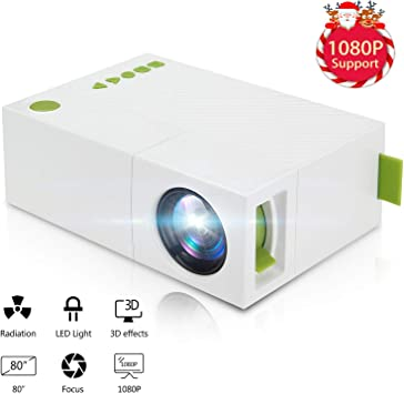 MUXAN Mini proyector, portátil 1080P LED Mini Beamer Heimkino ...