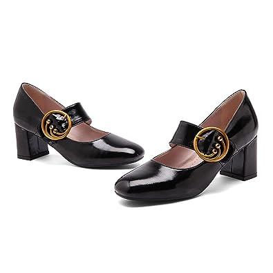 QIN&X Talon Bloc Femmes Talons Chaussures Bouche Peu Profonde à Tête Ronde,Black,39