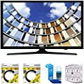 """Samsung Flat 43"""" LED 1920x1080p 5 Series Smart TV 2017 Model (UN43M5300AFXZA) with 2x 6ft High Speed HDMI Cable Black, Universal Screen Cleaner for LED TVs & SurgePro 6-Outlet Surge Adapter"""