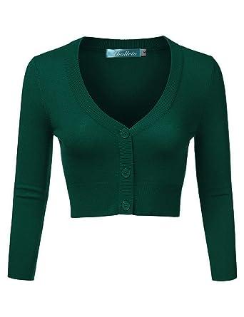 Abollria Damen Bolero Kurze Strickjacke Langarm Cardigan Elegante Jacke V  Ausschnitt mit Knopf 8a59613e6a