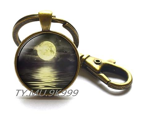 Llavero con luna llena, llavero con diseño de luna y galaxia ...