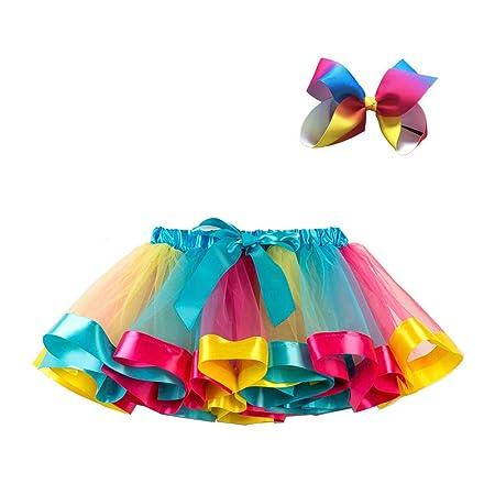 Lefuku 1 Piezas Falda Tutu para Niñas Dancewear Arco Iris Falda de ...