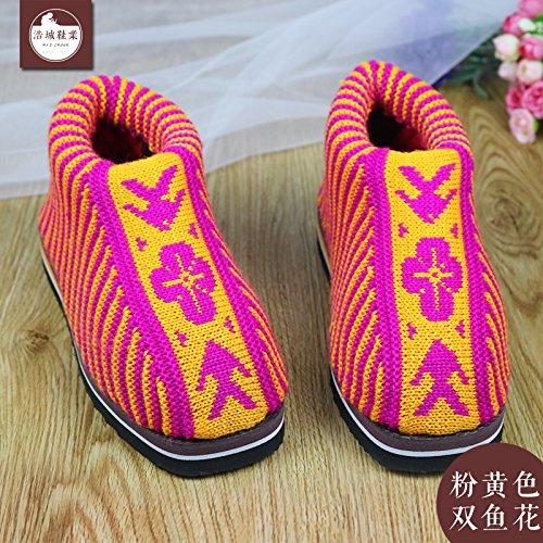 LaxBa Femmes Hommes chauds dhiver Chaussons peluche antiglisse intérieur Cotton-Padded Slipper Shoes Pink (poissons)38/39 (pour 35 ~ 36 mètres)