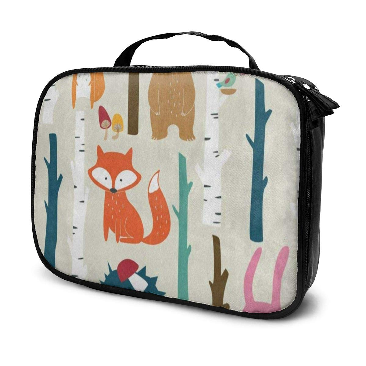 Cosmetic Bag Fox Bear Hedgehog Rabbit Makeup Organizer Box Lazy Toiletry Case,Durable High Capacity Easy To Carry Travel Cosmetic Bag Blocks Pen Tip Stains