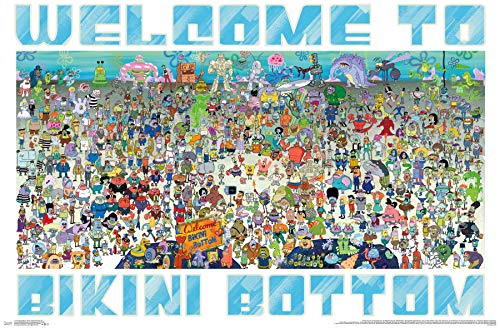 Spongebob Bikini Bottom - Trends International Spongebob - Every Character Ever 19 Wall Poster 22.375