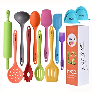 TTLIFE Silicone Utensils Kitchen Set With Turner, Spatula, Soup Ladle,Brush,Long Handle Shovel,Long Spoon,Slotted Spoon,Shovel Spoon,Colander, Rolling Pin,Heat Resistant Hand Clips …