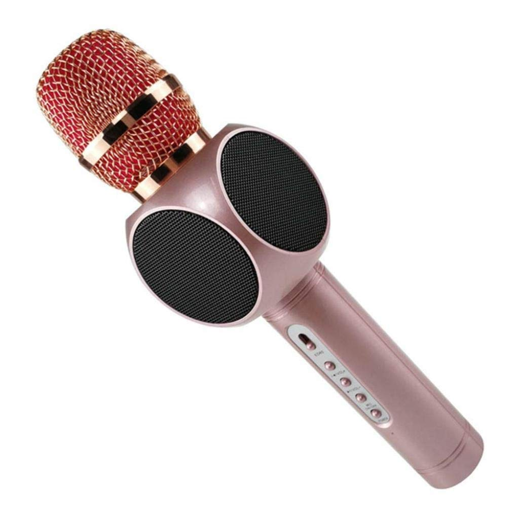 Wireless Microphone Condenser Karaoke Mic KTV Music Bluetooth Speaker Compatible with Android and iOS for Singging, Karaoke, Recording ( Color : Pink )