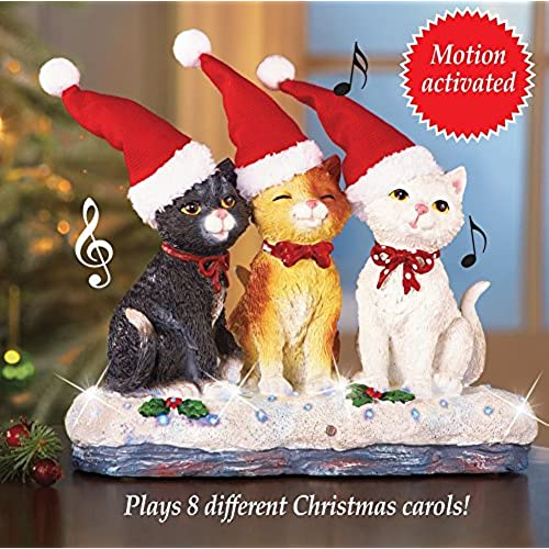 musical christmas cat trio tabletop decor - Cat Christmas Decorations