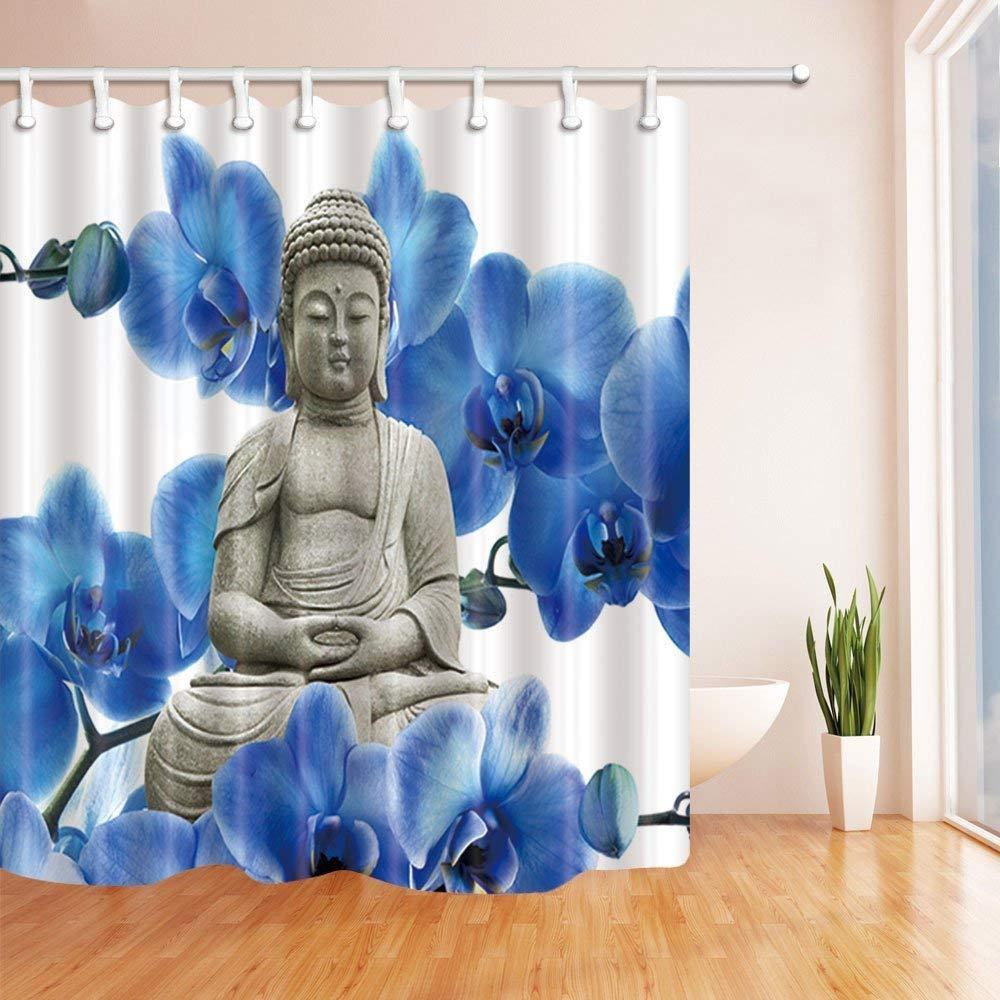 gohebe Spa Dusche Vorhänge für Badezimmer Watercolor Zen Yoga Blue Flower Polyester-Hintergrund-Wasserdicht Bad Vorhang Vorhang für die Dusche Haken enthalten 180x180cm