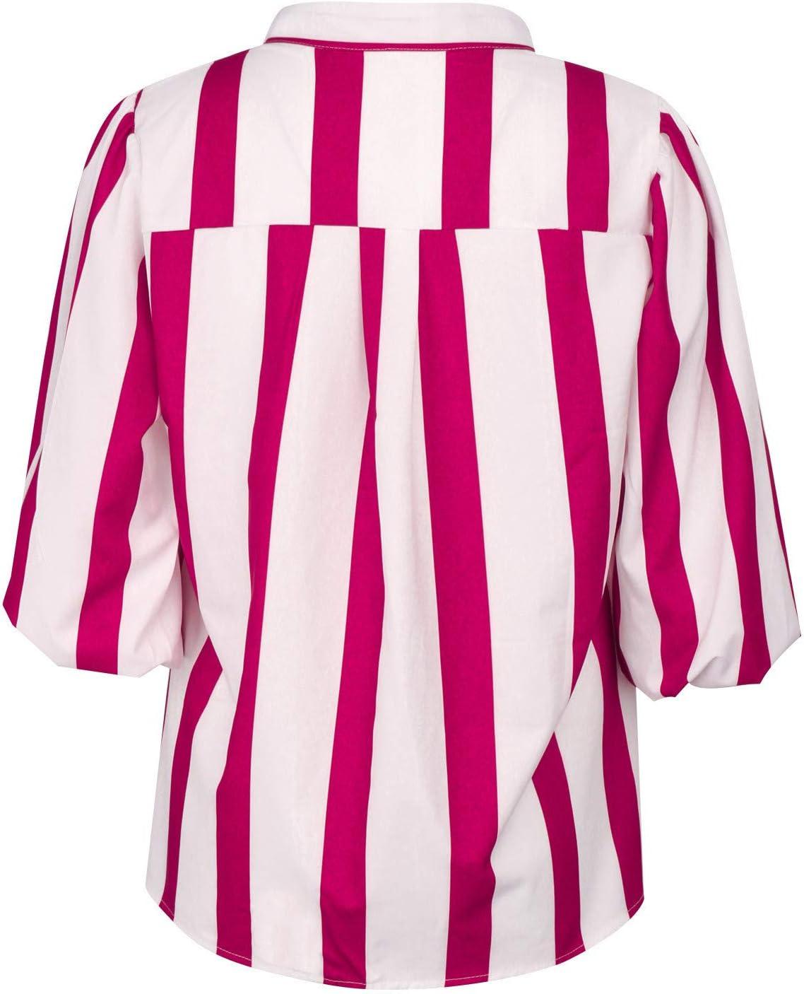 Gestreiftes Damen Longsleeve Shirt Hawkimin Bluse Elegant Langarm Oberteil Casual V-Ausschnitt Hemd Blusen Langarmshirts T-Shirt Tops Sweatshirt Langarmshirt Hemdbluse Tunika