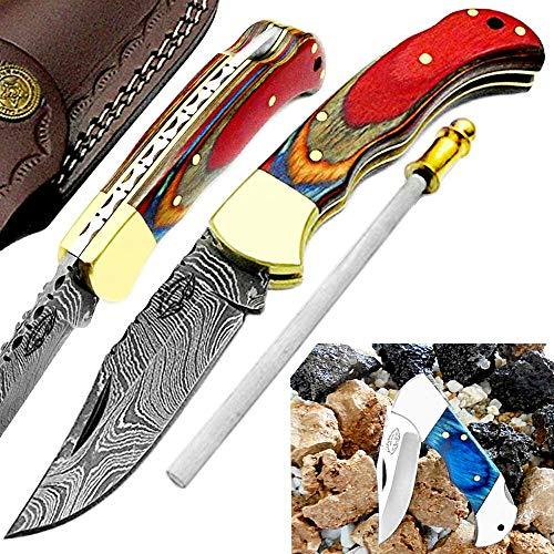 "Pocket Knife Multi Wood 6.5"" Damascus Steel Knife Brass Bolster Back Lock Pocket Knives 100% Prime Quality+ Blue Wood Small Pocket Knife +Sharpening Rod Folding Knife."