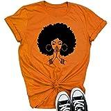 Qianxitang Women's Tops Cute Graphic Print Summer Causal Cotton Round Neck Short Sleeve Blouses T Shirt
