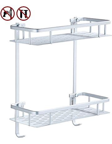 Laimew no perfora el estante del baño, estante de ducha pegajoso de aluminio de la