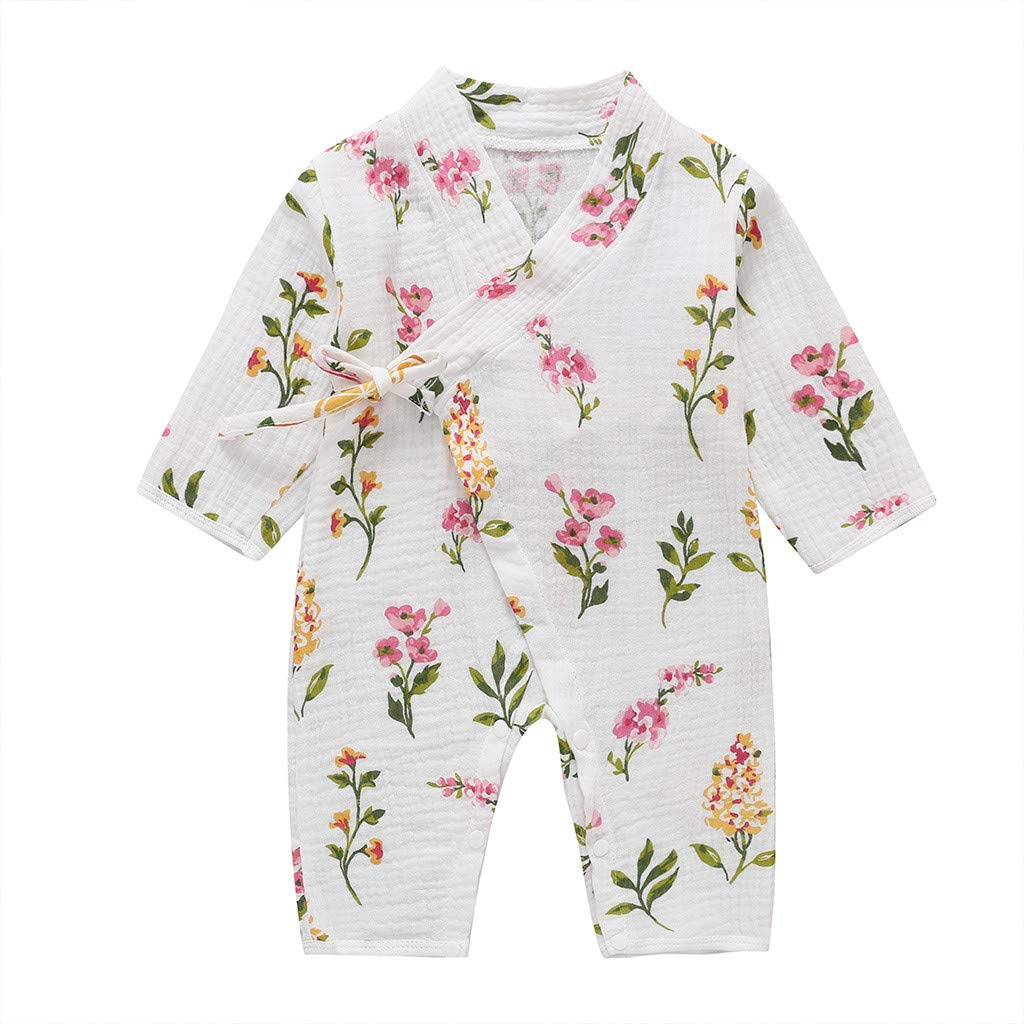 Newborn Infant Baby Boy Girls Cute Cartoon Yarn Robe Kimono Romper Jumpsuit Soft Cotton Home Sleepwear