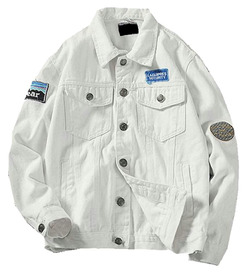 f87e12a18 White TD-CACA Mens Mens Mens Classic Hip Hop Long Sleeve Button Down Denim  Jacket d9baaf
