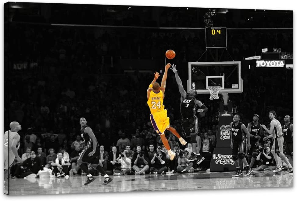 """UNBRUVO NBA Legend Kobe Bryant Posters Wall Art Canvas Memorial Basketball Fans Artwork Wall Decor Sports Poster Home Decoration Ready to Hang for Living Room Decor (18""""Hx24""""W)"""