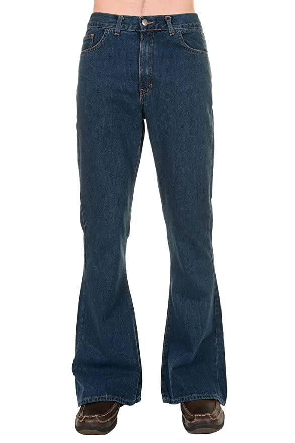 Men's Vintage Style Pants, Trousers, Jeans, Overalls 60s 70s Stonewash High Rise Bell Bottom Flares $47.95 AT vintagedancer.com