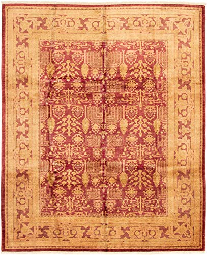eCarpet Gallery Large Area Rug for Living Room, Bedroom | Hand-Knotted Wool Rug | Peshawar Oushak Bordered Red Rug 8'3