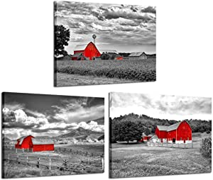 iKNOW FOTO 3 Pieces Canvas Wall Art for Bedroom Bathroom Black and White Country Rustic Farm Red Cabin Canvas Prints Decor Red Barn Field Art Farm Picture Artwork Framed Ready to Hang for Home Walls