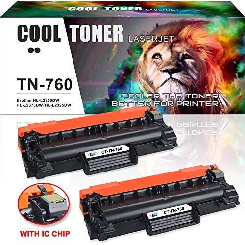 [WITH CHIP] Cool Toner 2PK Compatible for Brother TN760 TN730 HL-l2350dw MFC-l2750dw Toner Cartridge for Brother HLL2350DW HLL2395DW DCP L2550DW HL-L2390DW MFC l2750DW MFC l2710DW Toner Ink Printer