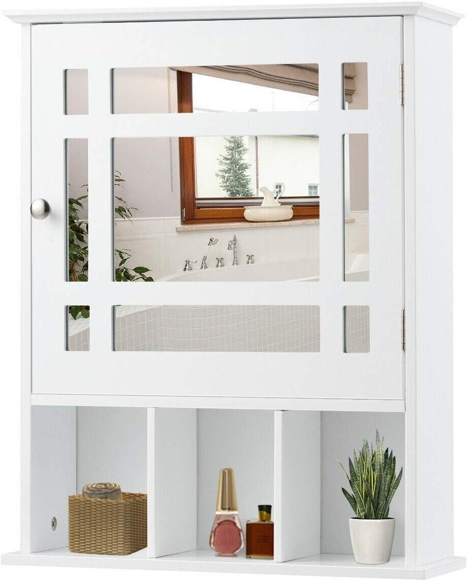 Amazon Com Cypress Shop Mirrored Bathroom Cabinet Medicine Cupboard Wall Mounted Kitchen Mirror Door Shelf Kitchen Storage Utility Pantry Toiletry Organizer Shelving Units White Kitchen Dining
