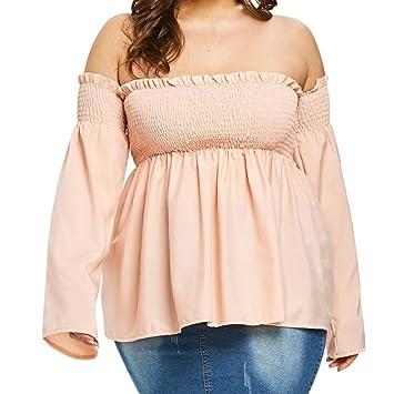 LILICAT® Camisetas para mujer tallas grandes, XL-5XL, elegantes camisetas sin hombros