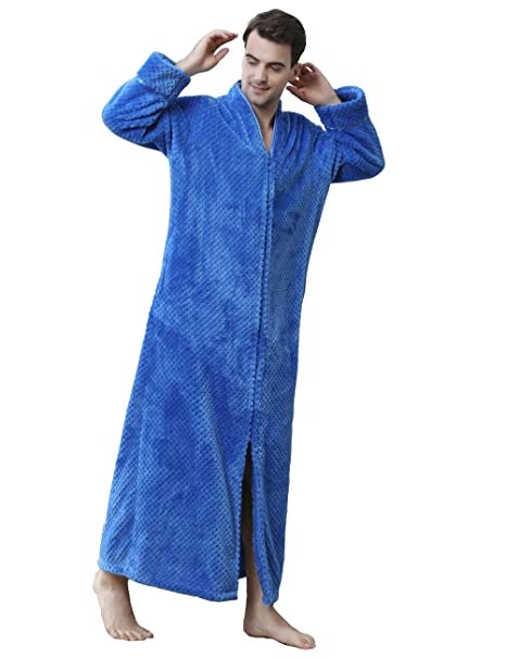 Kugga Batas Para Hombres, Albornoz De Coral, Ropa De Dormir De Color Liso, Azul: Amazon.es: Ropa y accesorios