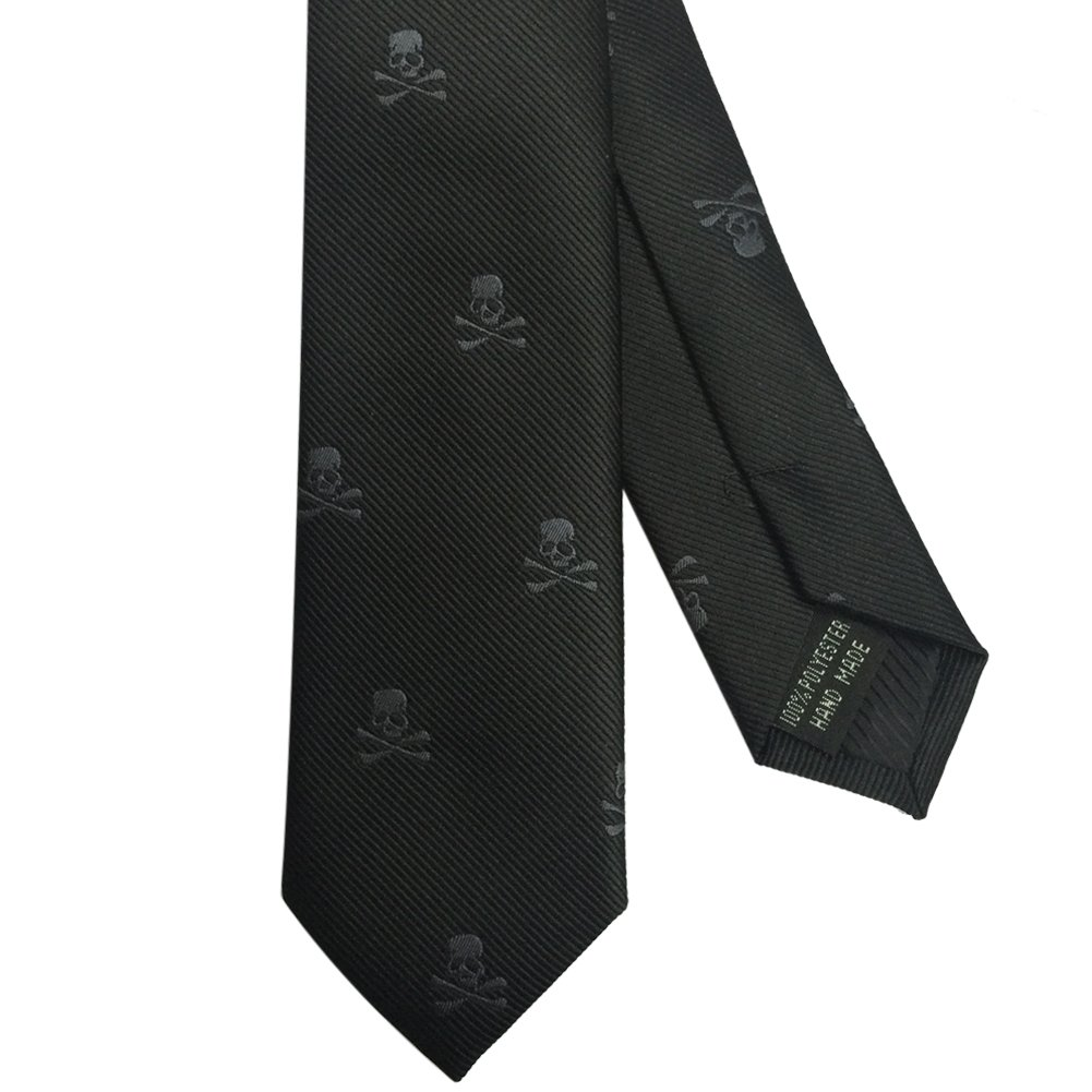AINOW Mens Classic Skinny Tie Fashion Woven Silk Necktie Black and Grey Skull