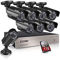 ZOSI 8canales 1080N vídeo HD sistema de seguridad CCTV DVR disco duro de 1TB + 8interior/al aire última intervensión 1.0MP 1280TVL resistente a la intemperie sistema de cámara de seguridad de vigilancia